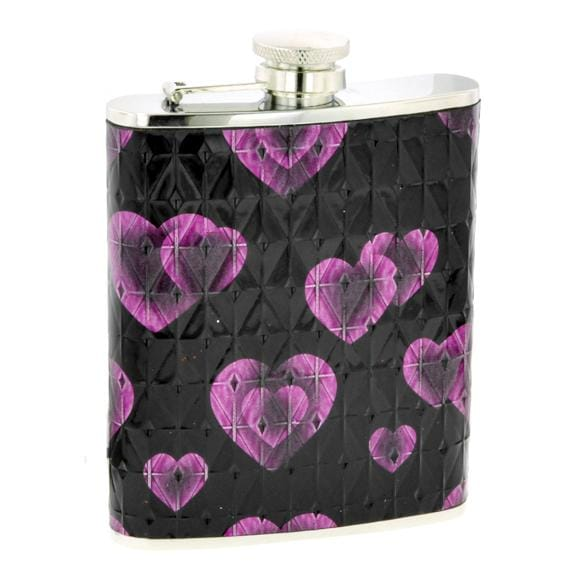 Purple and Black 6-oz Heart Flask