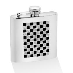 Stainless Steel Black Glitter Checkered Glitter 6 oz. Mirror Flask