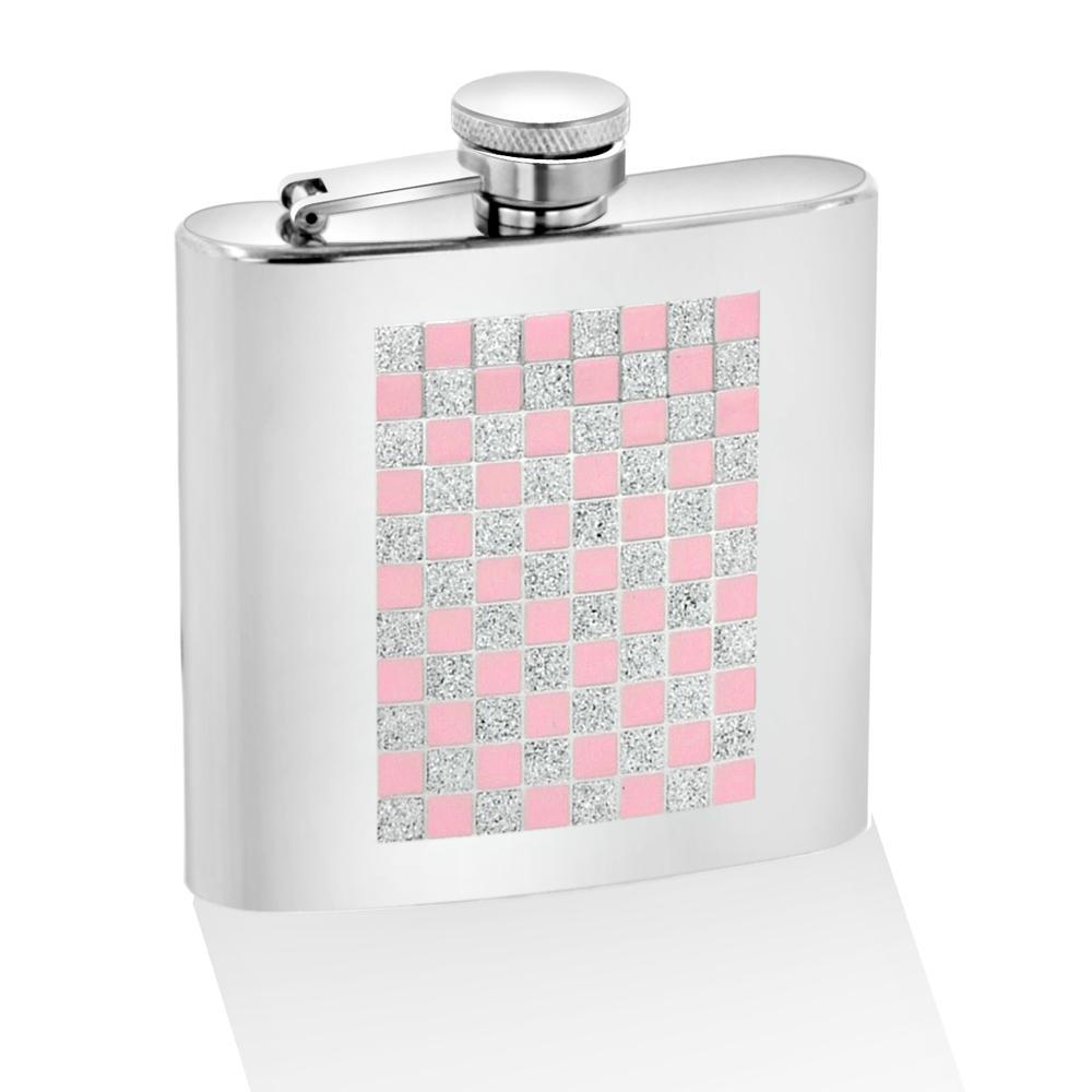Pink Checkered Glitter 6-oz Mirror Flask