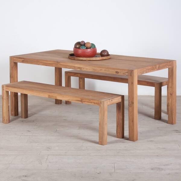 Enjoyable Shop Handmade Reclaimed Teak Wood Dining Table And Benches Evergreenethics Interior Chair Design Evergreenethicsorg
