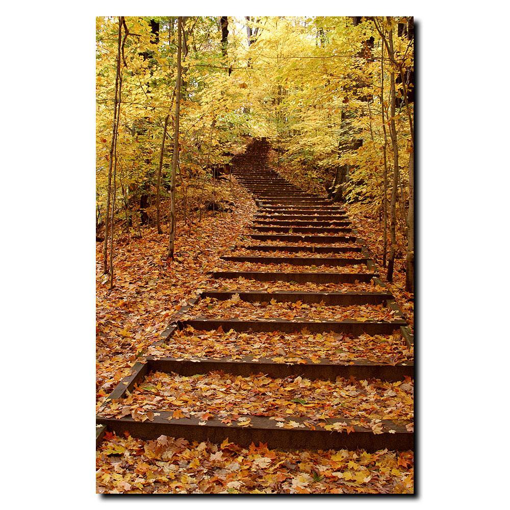 Kurt Shaffer 'Fall Stairway' Canvas Art