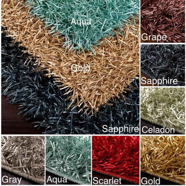 Hand-woven Ribbon Shag Multi Rug (8' x 10')