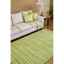 Hand-tufted Solid Green Casual Groovy Wool Rug (3'3 x 5'3) - Thumbnail 1