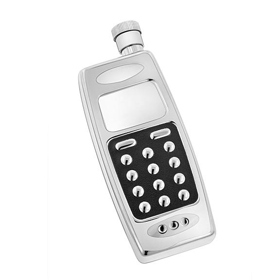 Five-ounce Silver Stainless-steel Cellphone Flask with Screw-on Lid