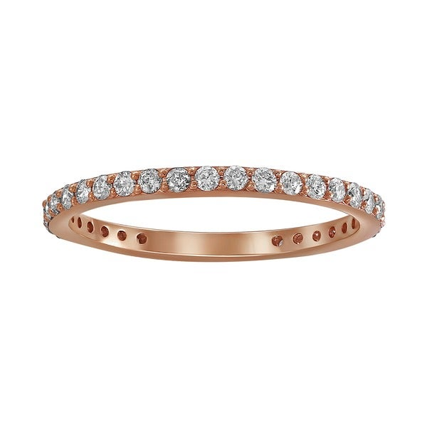14k Rose Gold 1/2ct TDW Diamond Eternity Stackable Wedding Band - White H-I
