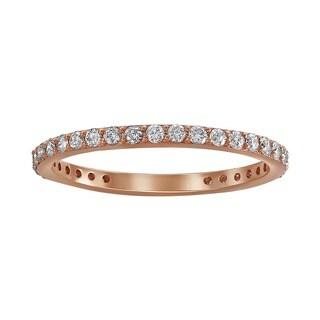 14k Rose Gold 1/2ct TDW Diamond Eternity Stackable Wedding Band - White H-I