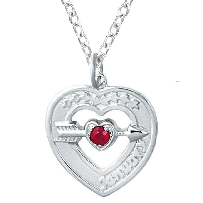 Sterling Silver January Birthstone Created Garnet Heart Necklace