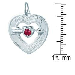 Sterling Silver January Birthstone Created Garnet Heart Necklace - Thumbnail 2
