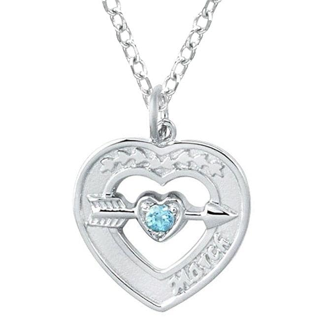 Sterling silver march birthstone created topaz heart necklace free sterling silver march birthstone created topaz heart necklace mozeypictures Choice Image