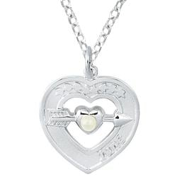 Sterling Silver June Birthstone Created Pearl Heart Necklace