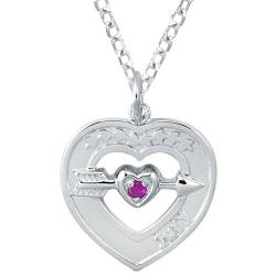 Sterling Silver July Birthstone Created Ruby Heart Necklace