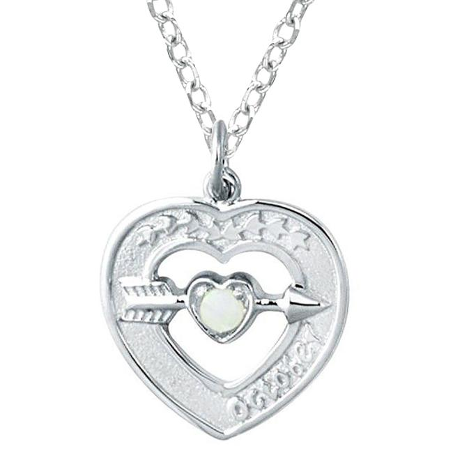 Sterling Silver October Birthstone Created Opal Heart Necklace