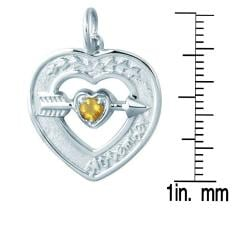 Sterling Silver November Birthstone Created Citrine Heart Necklace