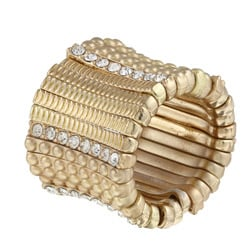 Celeste Goldtone Brass Crystal Satin Stretch Ring