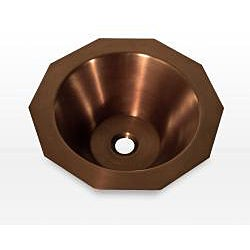 Highpoint Collection Copper 16.75-inch Decagon Light Finish Vessel Sink