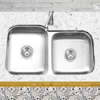 Stainless Steel Offset Double Bowl Kitchen Sink with Drains