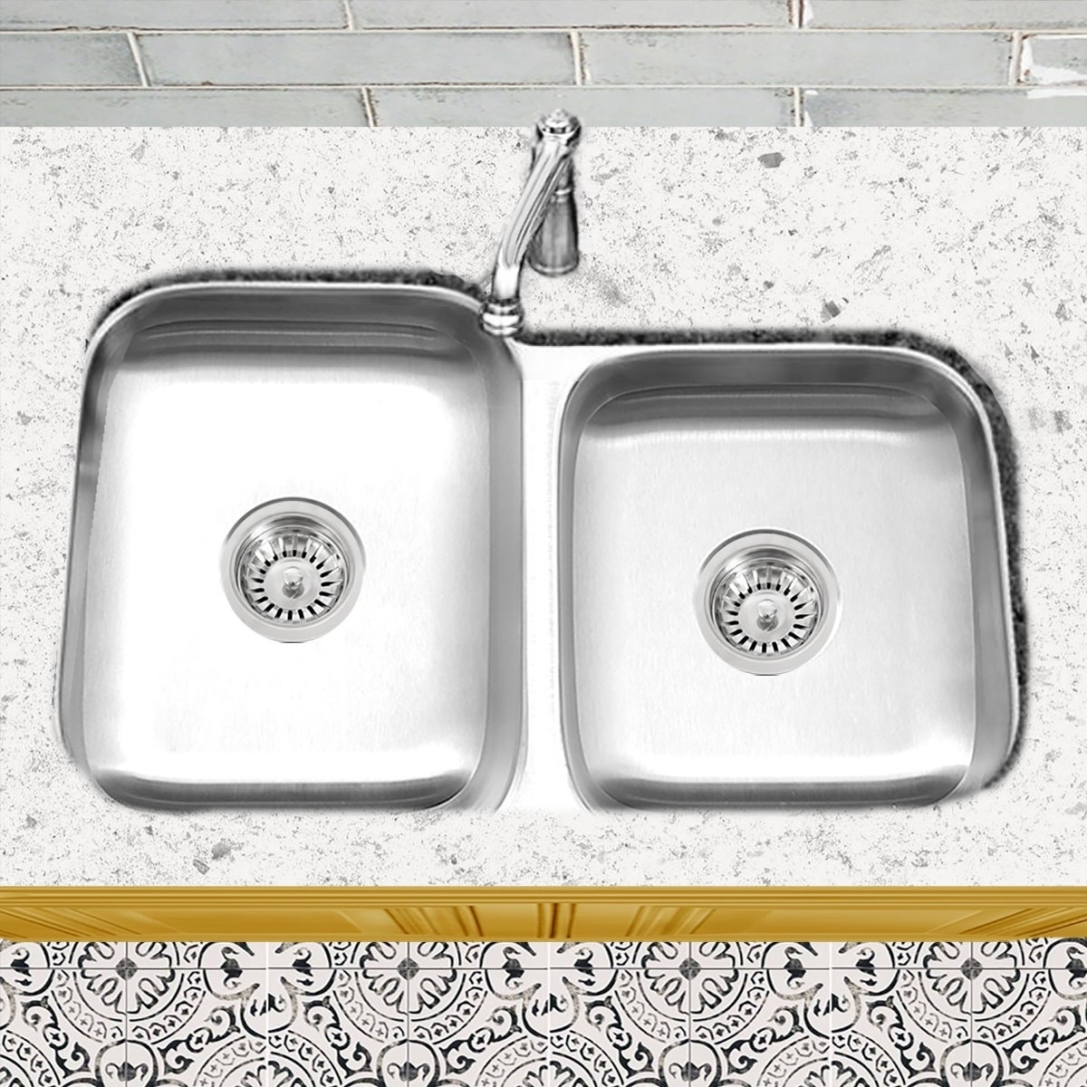Stainless Steel Offset Double Bowl Kitchen Sink With Drains Silver On Sale Overstock 5763611