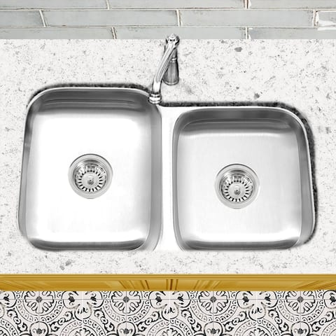 Stainless Steel Offset Double Bowl Kitchen Sink with Drains - Silver