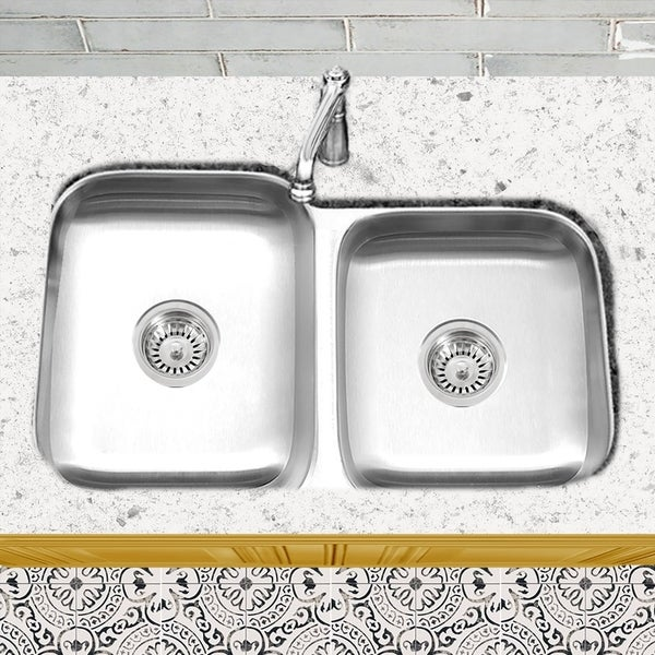 Shop Stainless Steel Offset Double Bowl Kitchen Sink with Drains ...