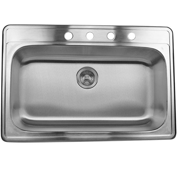 stainless steel 33 inch self rimming drop in single bowl kitchen sink - Bowl Kitchen Sink