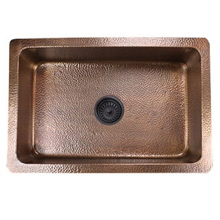 Highpoint Collection 30-inch Undermount Hammered Light Copper Kitchen Sink