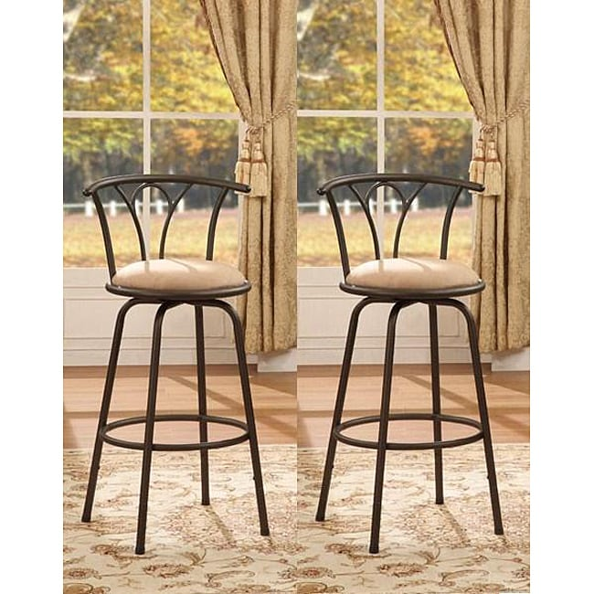 Bronze Finish Adjustable Metal Swivel Counter Height Bar Stools (Set of 2)