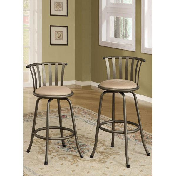 ... Slat Back Adjustable Metal Swivel Counter Height Bar Stools (Set of 2