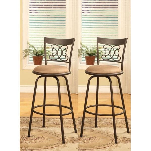 Gentil Bronze Finished Metal Scroll Back Adjustable Swiveling Counter Height Bar  Stools (Set Of