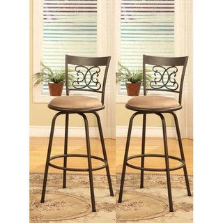 Bronze Finish Scroll Back Adjustable Metal Swivel Counter Height Bar Stools Set of 2