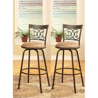 Bronze Finished Metal Scroll Back Adjustable Swiveling Counter Height Bar  Stools (Set Of