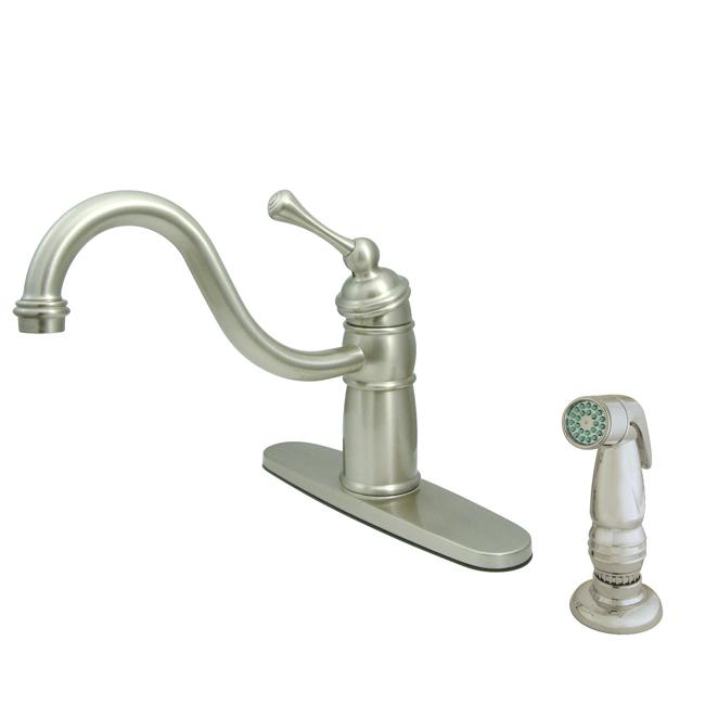 Victorian Satin Nickel Kitchen Faucet With Side Sprayer