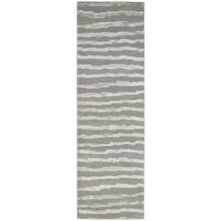 Safavieh Handmade Soho Stripes Grey New Zealand Wool Runner (2'6 x 10')