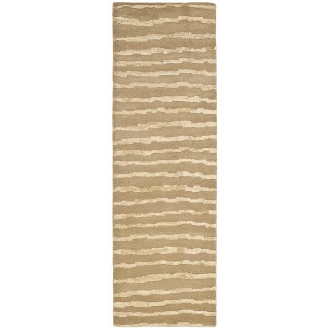 Safavieh Handmade Soho Stripes Beige/ Gold N. Z. Wool Runner (2'6 x 10')
