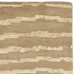 Safavieh Handmade Soho Stripes Beige/ Gold N. Z. Wool Runner (2'6 x 10') - Thumbnail 1
