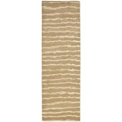Safavieh Handmade Soho Stripes Beige/ Gold N. Z. Wool Runner (2'6 x 12')