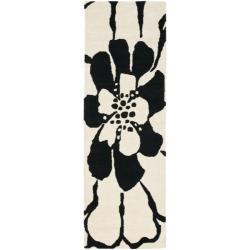Safavieh Handmade Soho Modern Floral Black New Zealand Wool Runner (2'6 x 8')