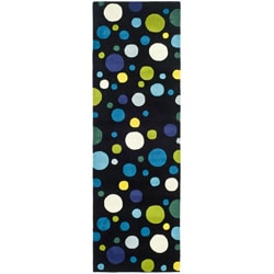 Safavieh Handmade Soho Bubblegum Black/ Multi N. Z. Wool Runner (2'6 x 6')