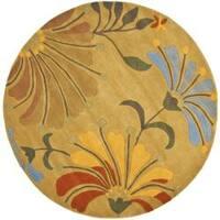 Safavieh Handmade Soho Gold/ Multi New Zealand Wool Rug - 6' x 6' Round