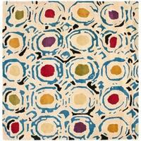 Safavieh Handmade Soho Modern Abstract Ivory/ Multi Wool Rug - 6' x 6' Square