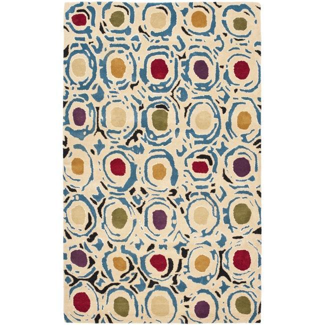 Safavieh Handmade Soho Modern Abstract Ivory/ Multi Wool Rug - 7'6 x 9'6