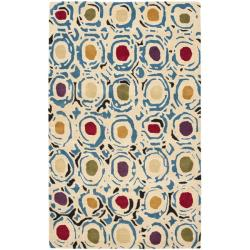 Safavieh Handmade Soho Modern Abstract Ivory/ Multi Wool Rug - 7'6 x 9'6 - Thumbnail 0