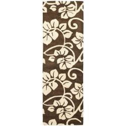 Safavieh Handmade Soho Brown/Ivory Floral New Zealand Wool Runner (2'6 x 8')