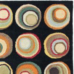 Safavieh Handmade Soho Candies Black/ Multi N. Z. Wool Rug (3'6 x 5'6')