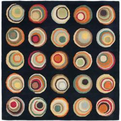 Safavieh Handmade Soho Modern Abstract Black/ Multi Wool Rug (6' x 6' Square)