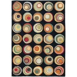 Safavieh Handmade Soho Modern Abstract Black/ Multi Wool Rug (7' 6 x 9' 6)