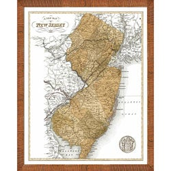 'Map of New Jersey' Framed Print