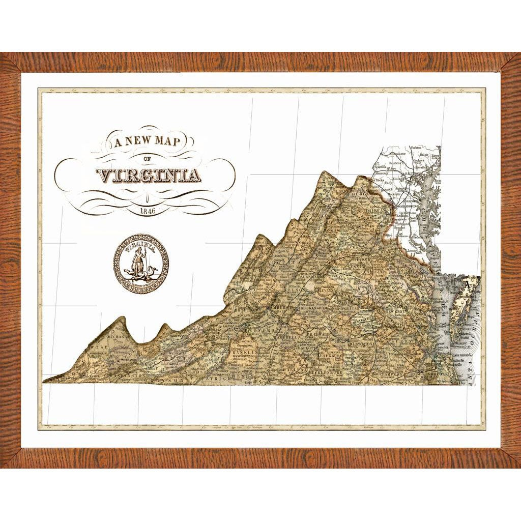 map of virginia framed print
