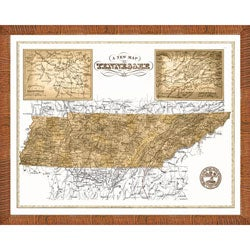 'Map of Tennessee' Framed Print