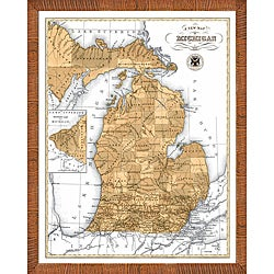 'Map of Michigan' Framed Print