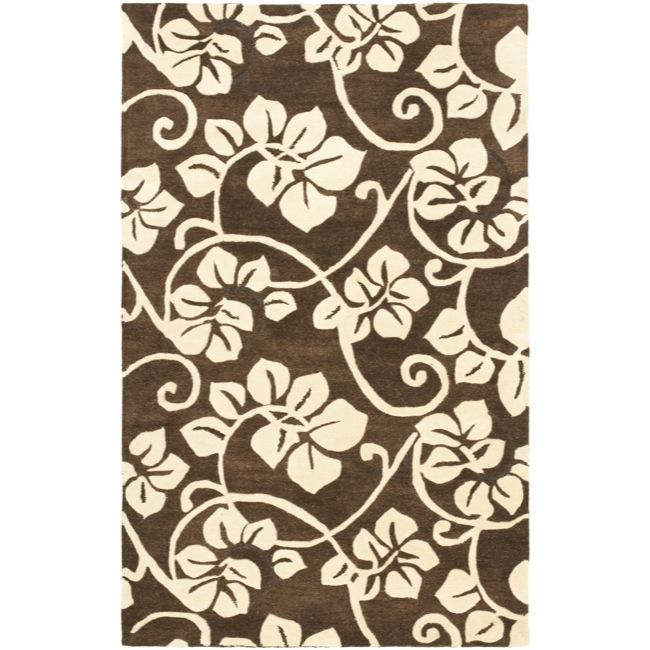 "Safavieh Handmade Soho Brown/Ivory Floral New Zealand Wool Area Rug (7'6"" x 9'6"")"